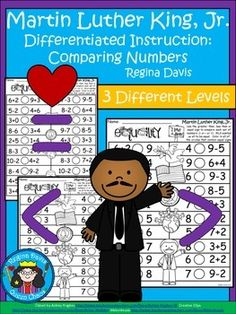 $ - Martin Luther King, Jr. Number Comparison (greater than, less than, equal to) with Differentiated Instruction.  Enjoy! Regina Davis aka Queen Chaos at Fairy Tales and Fiction By 2.
