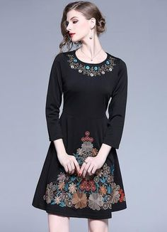 Black Embroidery O-Neck Long Sleeve Collect Waist Skater Dress Pleated Midi Dress, Floral Print Maxi Dress, Midi Dress With Sleeves, Skater Dress, Women's Fashion Dresses, Casual Dresses, Women's Dresses, Bodycon Dress Parties, Embroidery Dress