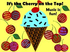Cherry on Top Bulletin Board - ask the students to write down why they like music, and write their responses on cherries.  Quarter and whole rests decorate an ice cream cone with an eighth note cherry on top.