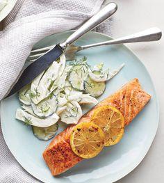 Roasted Salmon With Creamy Cucumber-Fennel Salad made with Greek yogurt | RealSimple.com