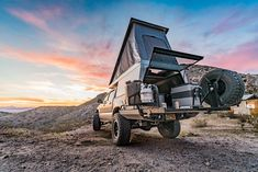 The hottest trend in the car camping/overland world right now is the lightweight pop-top truck camper. It combines a truck topper shell and rooftop tent. These go-anywhere truck campers are ready for adventure! Pop Up Truck Campers, Car Camper, Popup Camper, Offroad Camper, Travel Camper, Truck Bed Camping, Truck Tent, Camping World, Truck Topper Camping