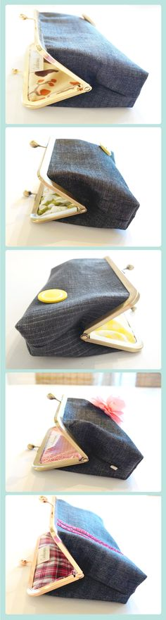 This striped-blue retro denim handbag features a yellow button embellishment that will instantly remind you of times gone by. The clutch makes for a perfect gift for that hard to buy for friend or relative or a great splurge gift for yourself. Denim Clutch Bags, Denim Handbags, Clutch Purse, Distressed Denim, Blue Stripes, Gift Guide, Fashion Accessories, Women's Fashion, Birthday