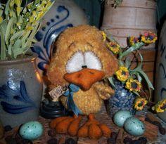"Primitive Fuzzy Duck Chicken Easter Bird Chick 6"" Doll Vtg Patti's Ratties Bear"