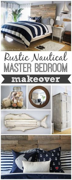 Rustic Nautical Master Bedroom Makeover! A series of DIY tutorials from http://thinkingcloset.com!