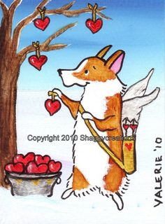 "PEMBROKE WELSH CORGI Art Print Corgi Valentine's Day Art Print ""Tree of Love""  Dog Art  Dog Lovers Gift  Dog Art Print Corgi ~Cupid Corgi by shaggycreations on Etsy"