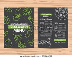 Restaurant  vegetarian and vegan healthy menu design
