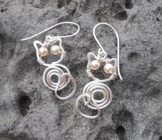 Silver cat wire earrings by SeaglassPetraDesigns on Etsy, $25.00