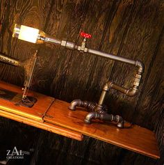 Desk Lamp Beer bottle Plumbing pipe and fittings by ZALcreations, $265.00