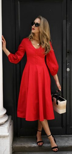 What to wear to Meet the Parents // Red balloon sleeve midi dress with buttons, low block heel black ankle strap sandals, wicker straw box bag with dark contrast handles, oval sunglasses {Straud, Steve Madden, Mark Cross, summer style, clas
