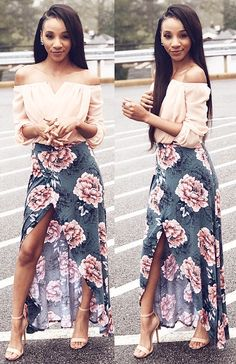 62108007f1770 FLORAL MAXI WRAP SKIRT   NUDE ANKLE STRAP HEELS