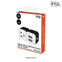 iHip Jigsaw 2-Port USB Wall Charger & AC Socket - Assorted Colors at 73% Savings off Retail!