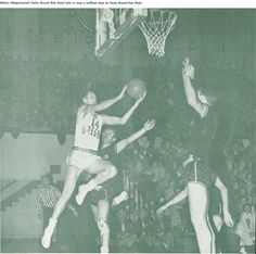 Oregon basketball player Ken Hunt attempts a shot vs. Idaho 1951 at Mac Court. From the 1951 Oregana (University of Oregon yearbook). www.CampusAttic.com