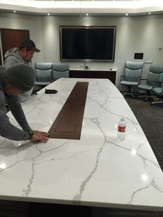 custom conference table in progress custom furniture furnituredesign millwork casework marble 3cm calacatta metro contemporarycabinets custom office tables o40 office