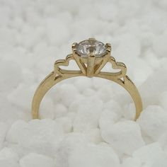 New 14k Yellow Gold Solitaire Engagement CZ Ring size 7 by jewela, $299.00 so cute