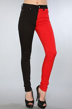The Highwaisted Split Leg Pant in Black and Red by Tripp NYC - Harley Quinn pants? If you buy these, you better be wearing them for cosplay...otherwise????