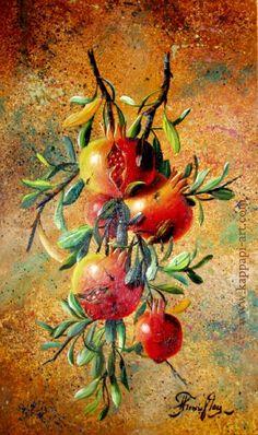 Pomegranates - still life painting on canvas Pomegranate Art, Colors Of Fire, Botanical Tattoo, Glass Wall Art, Jesus Painting, Art Boards, Flower Art, Still Life, Watercolor Art