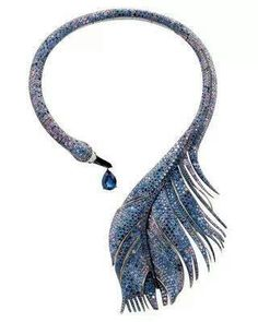 Blue Saphirre Feather Necklace Art Nouveau