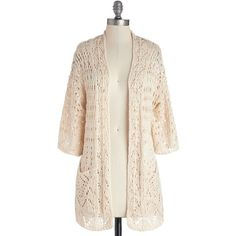 Long 3 Breezy Beach Cardigan by ModCloth ($50) ❤ liked on Polyvore featuring tops, cardigans, jackets, sweaters, modcloth, outerwear, apparel, cream, third piece and beach tops