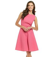 Product: Evan-Picone® Collection Basketweave Dot Dress with Flare Skirt