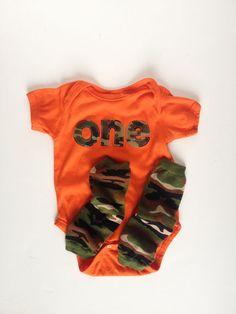 First Birthday Orange Camouflage ONE bodysuit and camouflage leg warmers, Camo Birthday, Hunting Birthday 1st Birthday Boy Themes, Camo Birthday, Hunting Birthday, Hunting Party, Baby Boy Birthday, First Birthday Parties, Birthday Shirts, Birthday Ideas, Birthday Bash