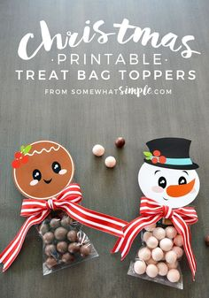 Christmas Printable Treat Bag Toppers - these are too cute to make for the holidays! From Somewhat Simple via http://www.thirtyhandmadedays.com