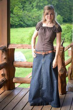 amo! Saia jeans super longa com cintinho!