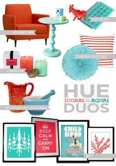 #coral #aqua I love these 2 colors together! It has a 'Miami Vice' feel to it!