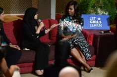 Pin for Later: Michelle Obama's Dress Will Make You Want to Add a Whole Palette of Color to Your Wardrobe Michelle Wearing Her Dress at the Let Girls Learn Program