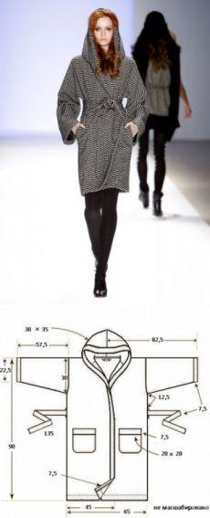 Пальто летучая мышь с капюшоном: выкройка с описанием пальто кимоно