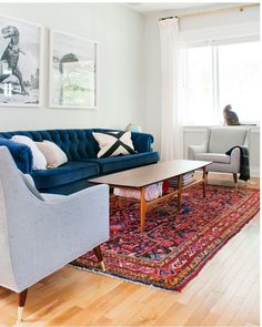 Obsessed: Navy (or other bright blue velvet) and Persian color combo but keep with cool tones for living room and warm tones for dining