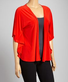 Look what I found on #zulily! Red Cape-Sleeve Open Cardigan - Plus by DJ Summers #zulilyfinds