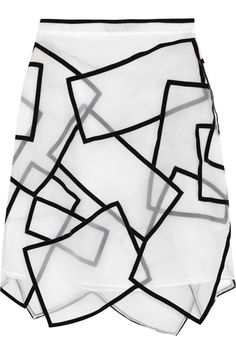 Skirt with overlapping sheer panels & graphic black velvet trim - sewing; fashion design details // Christopher Kane