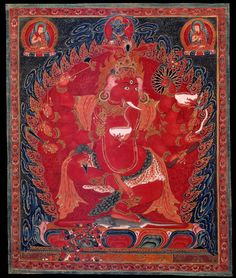 Ganapati, Maha Rakta (Tibetan: tsog gi dag po, mar chen. English: The Great Red Lord of Hosts or Ganas) is a Tantric Buddhist form of Ganapati (Ganesha) related to the Chakrasamvara Cycle of Tantras. This form of Ganapati is regarded as an emanation of Avalokiteshvara.