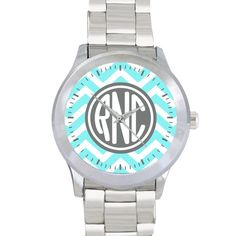 Monogrammed Stainless Steel Personalized Watch - Chevron on Etsy, $25.00