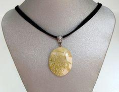 Natural Gemstone New Jade Yellow Green Round Pendant Necklace Fengshui Chakra #Handmade #Pendant