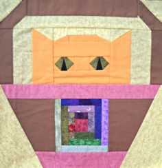 Log Cabin Cat Quilt Block Pattern by CurlicueCreations on Etsy, $3.00
