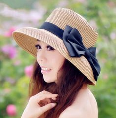Black bow straw bucket hats for women package UV beach sun hats