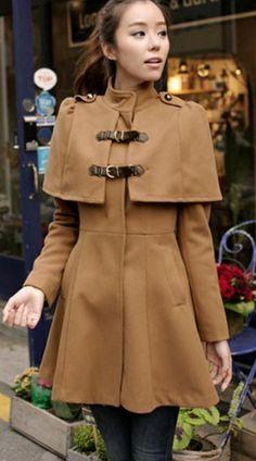 Elegant High Waist Cloak Pattern Flare Coat - Khaki