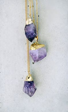 Raw Amethyst + Gold Necklace. Love the unrefined gemstones <3