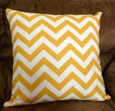 Corn Yellow Slub Chevron Zigzag pattern cotton HOme Decorative throw Pillow case / Cushion Cover / Home Accent Throw Pillow Cases, Decorative Throw Pillows, Yellow Chevron, Zig Zag Pattern, Doll Clothes, Cushions, Dolls, Cover, Nest