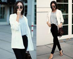 Beatrice Gutu - Blazer, T Shirt, Jeans, Sandals, Bag, Sunglasses - Transitional