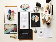A cosmic wedding suite inspired by colourful nebulas and astronomy diagrams.