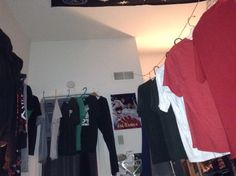 Indoor clothesline using doors and hemp knots in our tiny apartment