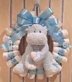 Custom Designed Diaper Wreath by StayInspiredDesigns on Etsy Regalo Baby Shower, Baby Shower Diapers, Baby Boy Shower, Baby Shower Gifts, Baby Shower Parties, Baby Shower Themes, Party Deco, Expecting Mom Gifts, Diaper Wreath