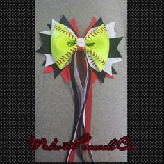 Softball Hair Bow with tails REAL BALL by MakeitPersonalCo on Etsy, $13.00