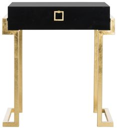 Safavieh Furniture SFV3517B - Embrace the new traditionalist style with this modern accent table. Its classic black hue shines with its sleek lacquer finish and svelte gold legs lend in