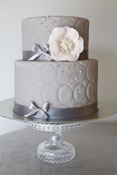 Chic Grey Tufted Cake,Petal Pink Floral & Pearl Center by The Pastry Studio
