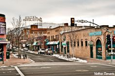 Downtown Flagstaff, Arizona.  I worked at the Crystal Magic in Sedona, near Thunder Mountain, also close to our camp