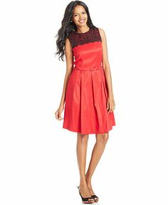 MACY'S $87.20 - 15% OFF 2013 London Times Dress, Sleeveless Contrast Lace Belted A-Line