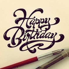Handwritten Lettering by Matthew Tapia. Happy Birthday to somebody out there. Handwritten Letters, Calligraphy Letters, Typography Letters, Typography Design, Caligraphy, Handwritten Typography, Penmanship, Typography Images, Happy Birthday 手書き